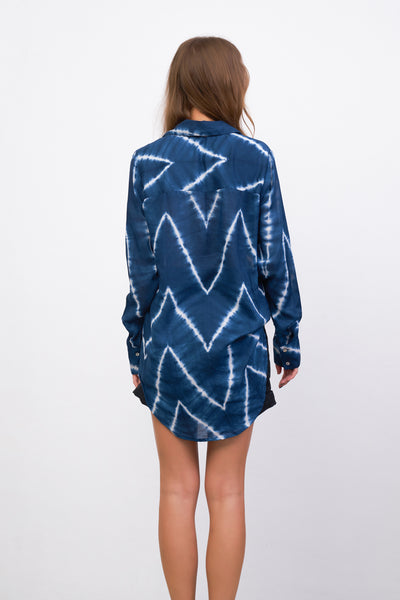 The Cruise - Long Sleeve Button Up Shirt in Navy Tie Dye