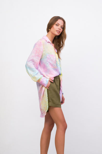 The Cruise - Long Sleeve Button Up Shirt in Pastel Fluro Rainbow Tie Dye