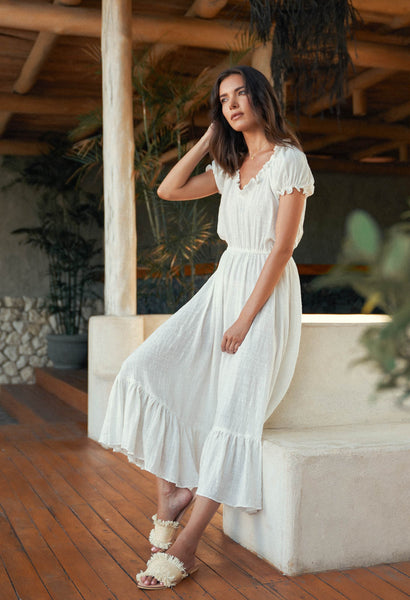 Daisy - Midi Float Loose Ruffle Dress in Plain Natural