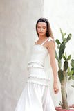 Levant - Shirring Ruffle maxi Dress in White