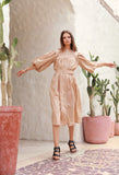 Siena - Maxi Puff Dress with Shirring and Belt in Cappuccino