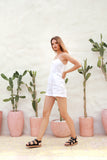 Marbella - Linen Spaghettu Strap Button Playsuit in White
