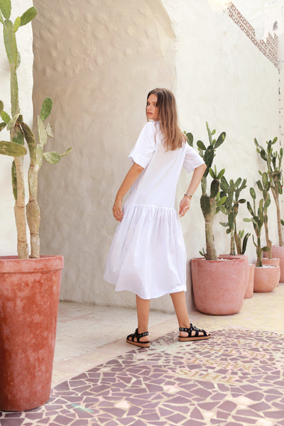 Sorrento - Round Neck Button Loose Dress in White