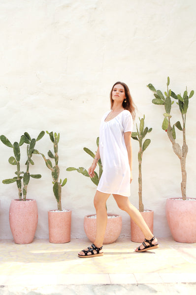Ostuni - Draw String Aline Dress in White