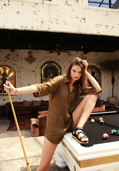 Abelle - Button Up Shirt Playsuit in Khaki