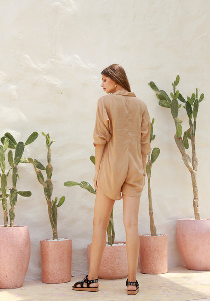 Abelle - Button Up Shirt Playsuit in Cappuccino