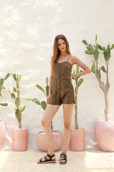 Marbella - Linen Spaghettu Strap Button Playsuit in Khaki