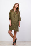 Lillie - Dress in Khaki Linen
