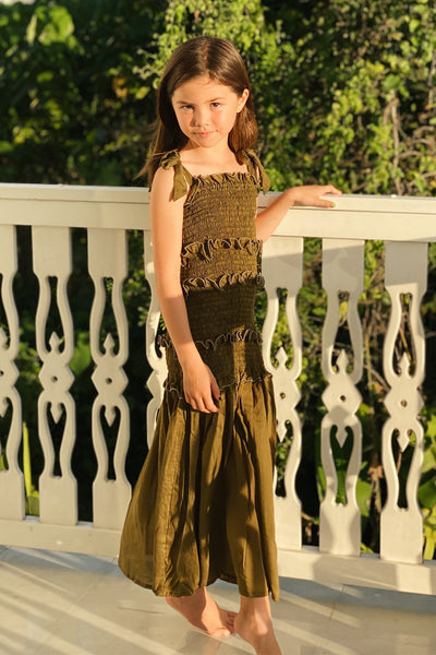 Levant Kids - Shirring Long Dress in Khaki