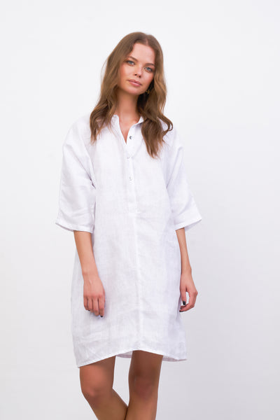 Lillie - Dress in White Linen