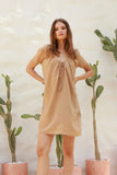 Ostuni - Draw String Aline Dress in Cappuccino
