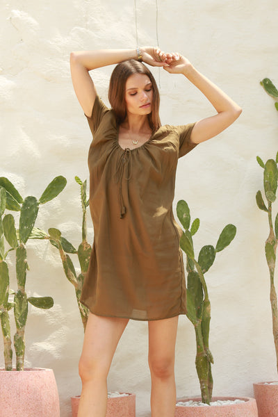 Ostuni - Draw String Aline Dress in Khaki
