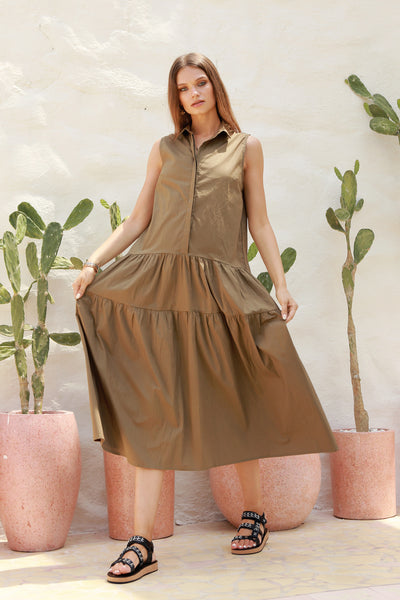Palermo - Cut Off Sleeve Dress with Collar in Khaki