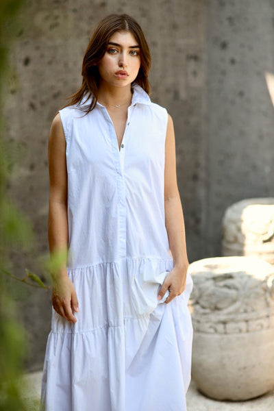 Palermo - Cut Off Sleeve Parachute Dress with Collar in White