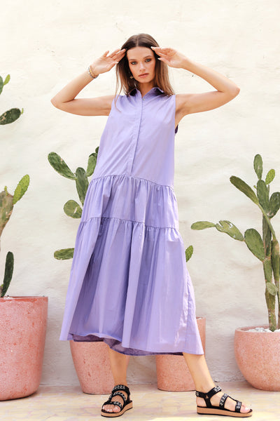 Palermo - Cut Off Sleeve Parachute Dress with Collar in Lavender