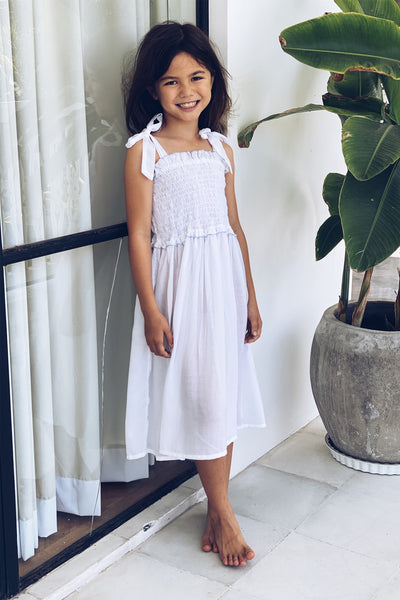 Remi - Kids Shirring Dress in White
