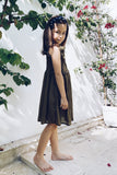 Remi - Kids Shirring Dress in Khaki