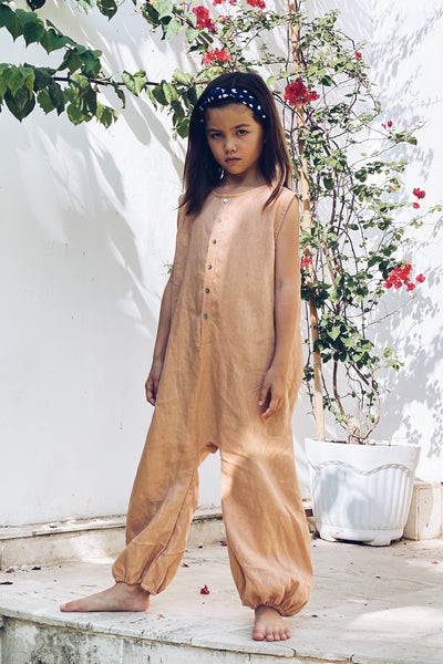River - Kids Unisex Jumpsuit in Linen coppertan