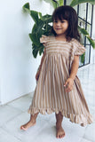 Skyler - Kids Dress in Stripe Tan and White