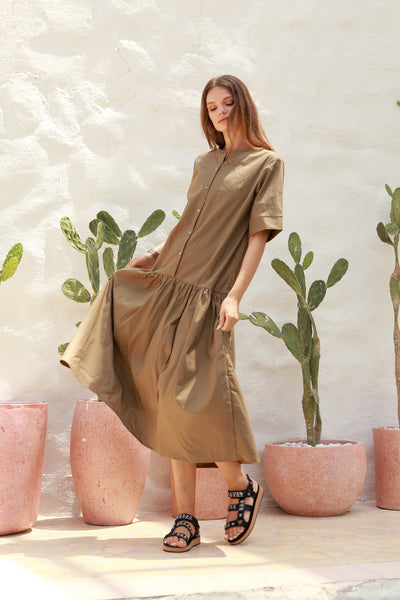 Sorrento - Round Neck Button Loose Dress in Khaki