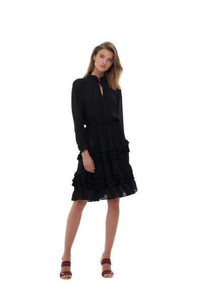 Ames - Long sleeve silk Dress with ruffle skirt In Black