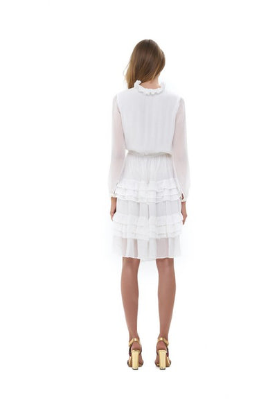 Ames - Long sleeve silk Dress with ruffle skirt In White