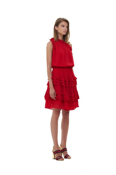 Ames - One shoulder silk dress in Red