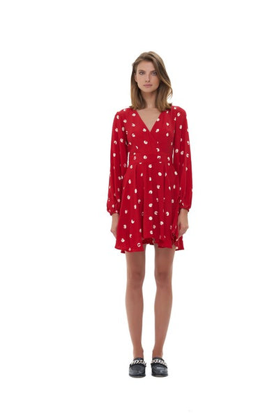 Jacinthe - Long sleeve Dress In Marais Polkadot Chilli Pepper Red and Cream