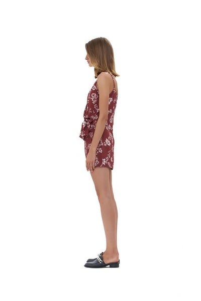 Aspen - Micro Mini Dress in Courchevel Floral Marsala and Rose Quartz
