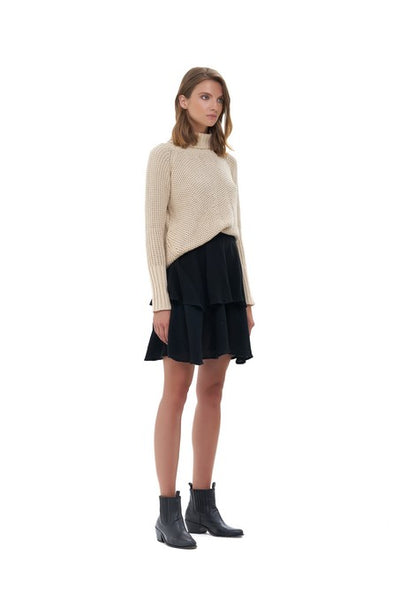 Aelyne - Roll Neck Knit Sweater in Sand
