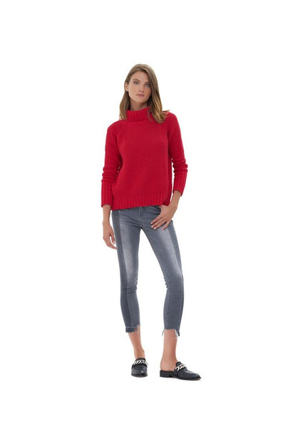 Aelyne - Roll Neck Knit Sweater in Chilli Pepper Red