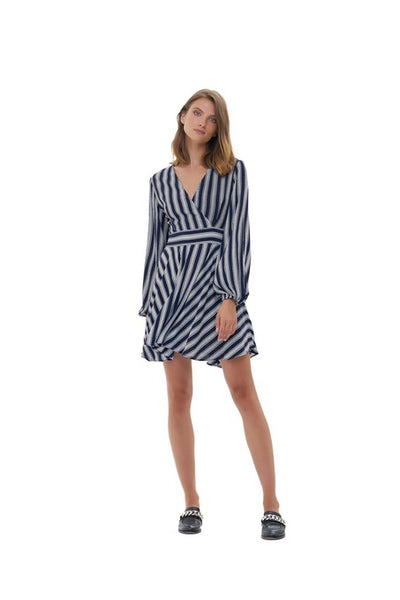 Jacinthe - Long sleeve Dress In Nolita Navy and White Stripe