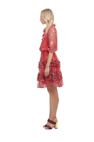Ames - Long sleeve silk Dress In Chinoise Print Red