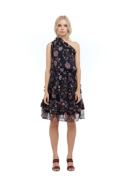Ames - One shoulder silk dress in Chinoise Print Black