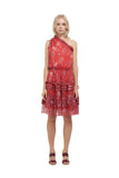 Ames - One shoulder silk dress in Chinoise Print Red