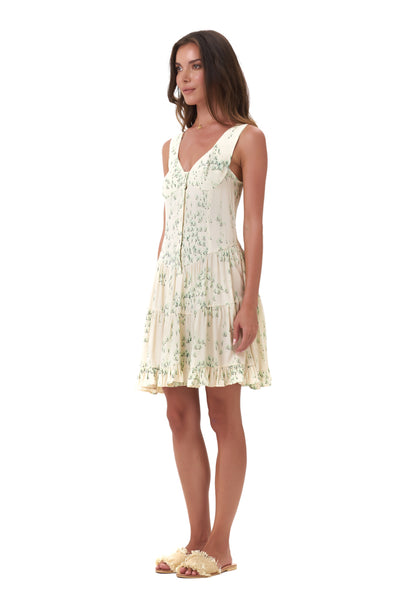 Dilone - Dress in Daisy Print Cream and Green Flower