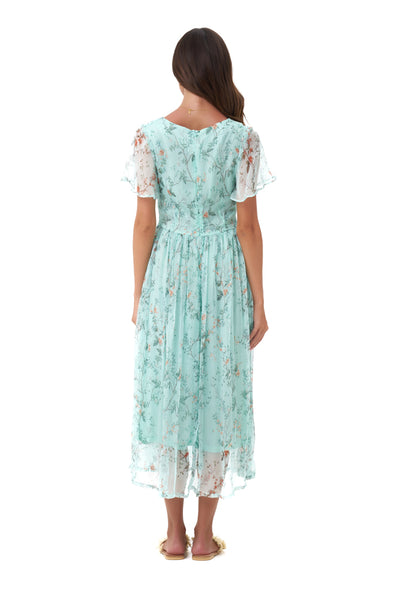Astrid - Classic Floaty Midi Dress in Oriental Silk Blue