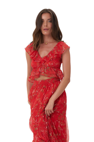 Isla - Top in Oriental Silk Red