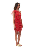 Drake - One shoulder silk dress in Oriental Silk Red