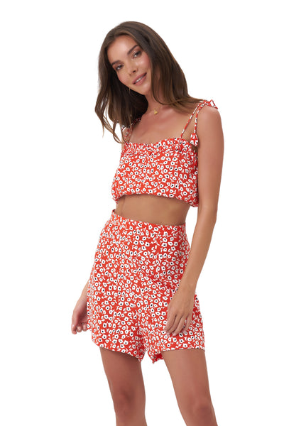 Iman - Crop Top in Vintage Flower Red