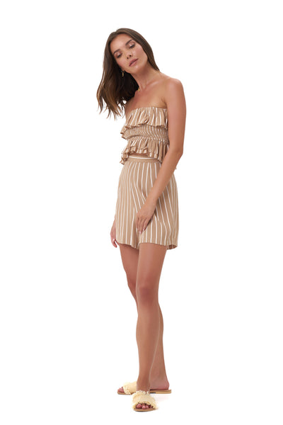 Eadie - Top in Stripe Tan and White