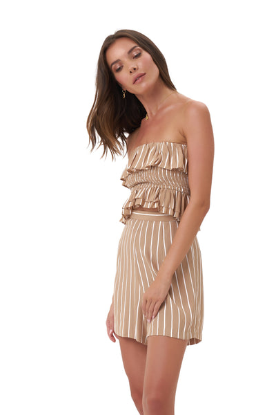 Ravemont - Short in Stripe Tan and White