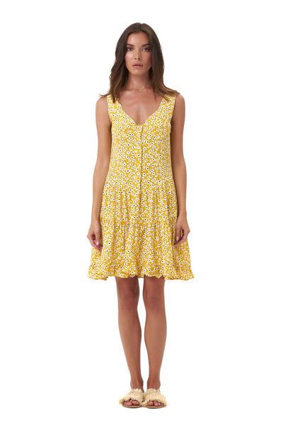 Dilone - Dress in Vintage Flower Yellow