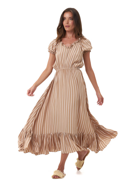 Daisy - Midi Float Loose Ruffle Dress in Stripe Tan and White