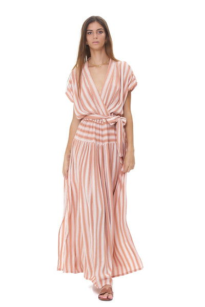 Aia - Maxi Dress in Stripe Coral Sands