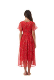 Astrid - Classic Floaty Midi Dress in Oriental Silk Red