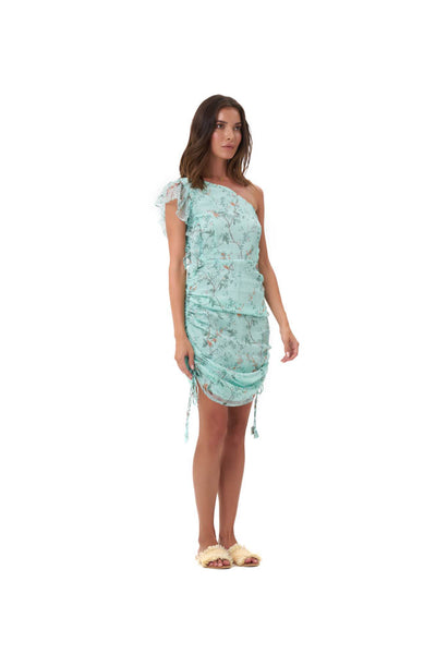 Drake - One shoulder silk dress in Oriental Silk Blue