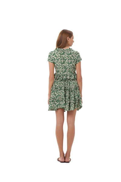 Freja - Flared Mini Skirt in Ivy in Dill and Birch