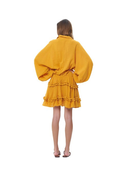 Willow - Long Sleeve Citrus Linen Dress