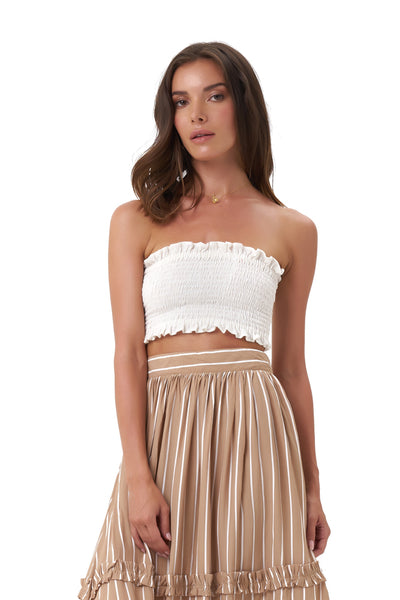 Kaia - Crop Top Elastic Shirring in Plain Cream